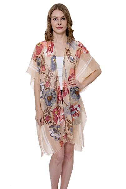 452b4f782d Women's Floral Kimono Cardigan Lightweight Beachwear Swimwear Cover Ups  Sheer Blouse Loose Tops (Beige /