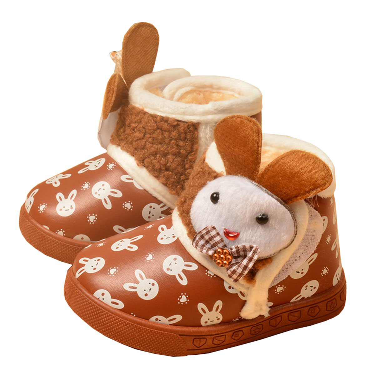 TAIYCYXGAN Baby Girls and Boys Rabbit Winter Fur Snow Boots Snowflake Bunny Shoes