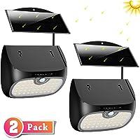 Cocoda Luz Solar Exterior, 48 LED Foco Solar de Seguridad [Panel Solar Separable] con Sensor de Movimiento, Luz Solar Impermeable para Jardin/Patio/Valla/Escaleras/Camino/Interior/Exterior (2 Pack)