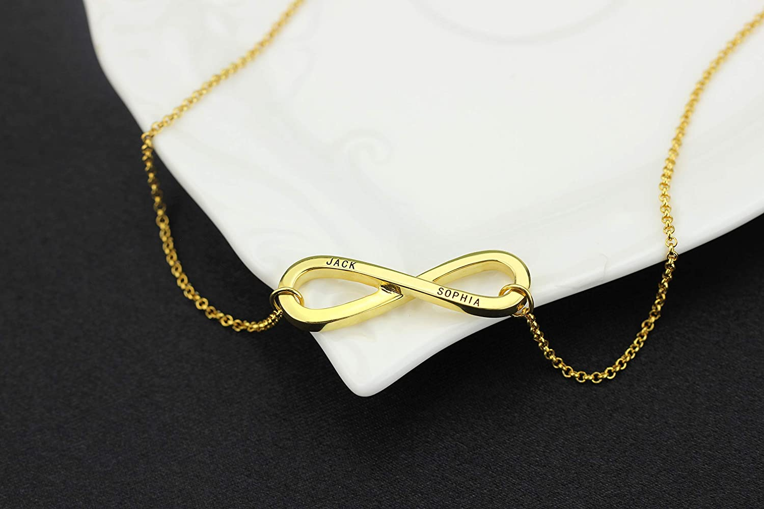 Getname Necklace Infinity Name Necklace Sterling Silver Engraved Infinity Necklace with Any Two Names
