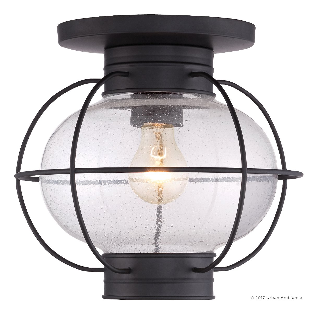 Luxury Nautical Outdoor Ceiling Light, Small Size: 10.5''H x 11.5''W, with Art Deco Style Elements, Cage Design, High-End Black Silk Finish and Seeded Glass, UQL1034 by Urban Ambiance by Urban Ambiance