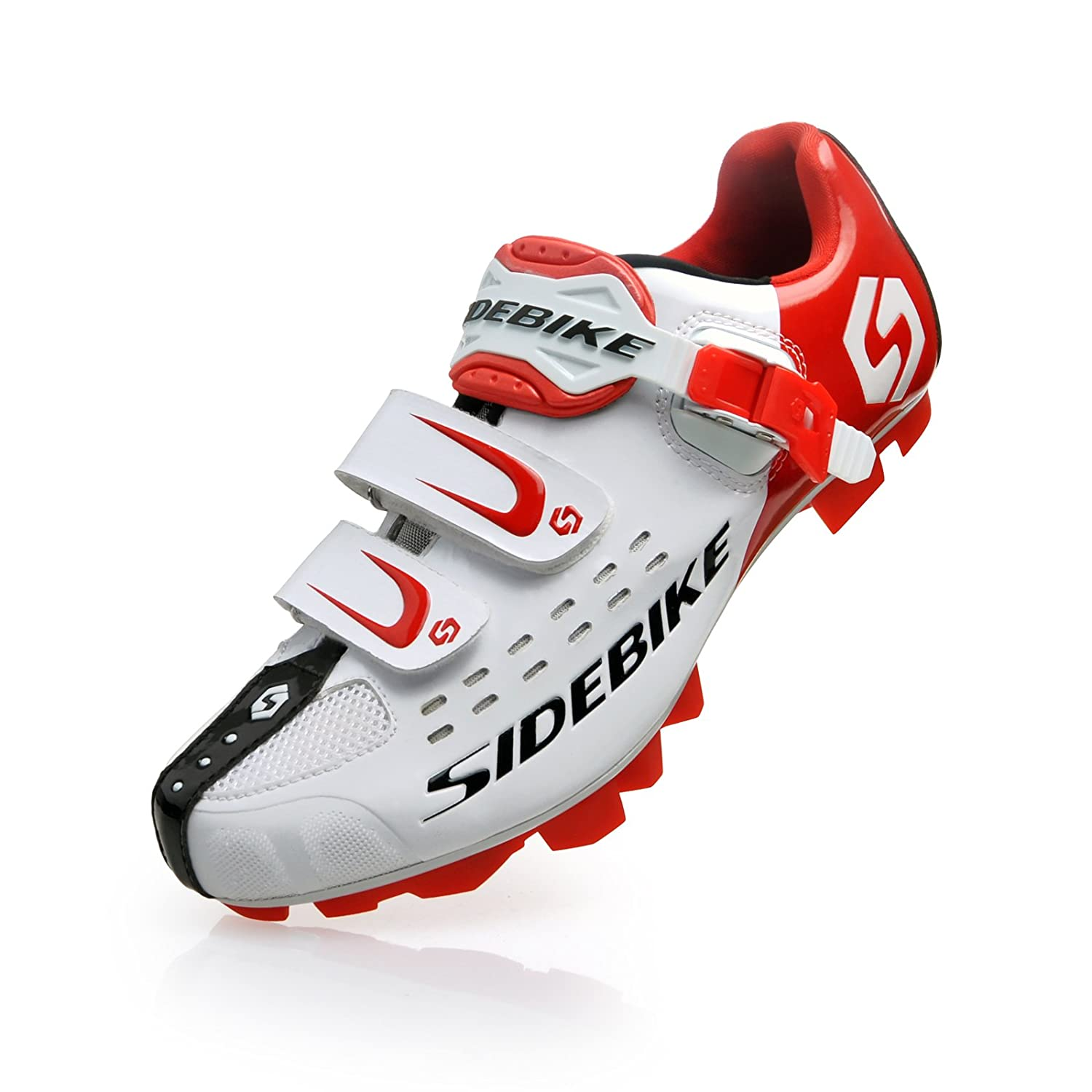 Smartodoors Cycling Shoes withカーボンSolesまたはナイロンTpu SolesのロードとMTB US9/EU42/Ft26.5cm SD01-MTB-White/red B01AAA94H4