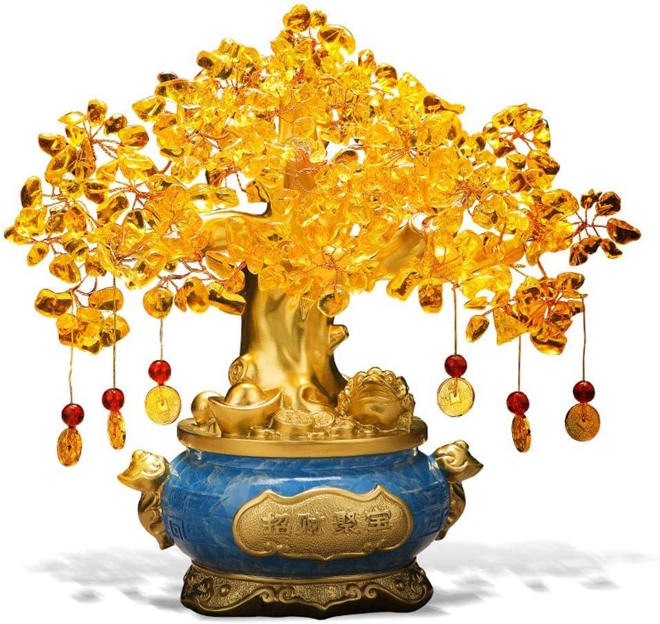 Ornamento de Escritorio Citrino, Decoración Reiki Piedra china del árbol del dinero for la abundancia y la suerte de Ministerio del Interior del estreno de una decoración de escritorio don sanador Cry