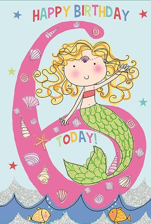 Tarjeta de cumpleaños para niña de 6 años, diseño de sirena ...