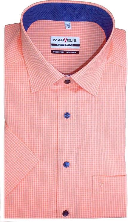 Marvelis 7092.52.91 Comfort Fit - Camisa de manga corta, color salmón y blanco salmón 46: Amazon.es: Ropa y accesorios