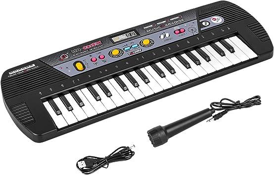 m zimoon 37 Teclas Piano para Niños, Teclado Piano Electronico Juguete Educativo Musical Teclado Digital con Micrófono para Niños Principiantes