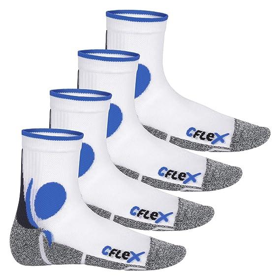 CFLEX - 4 pares de calcetines para correr - Blanco/Azul 35-38: Amazon.es: Ropa y accesorios