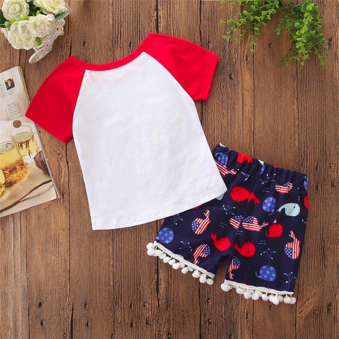DIGOOD for 0-4 Years Old,Toddler Baby Boys Girls Cartoon Whales T-Shirt+Tassels Shorts,Kids 2Pcs Outfits Clothes Sets