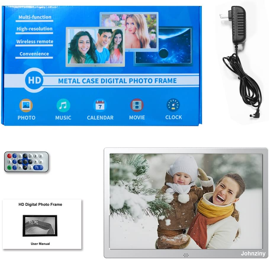 Digital Picture Frame 12 inch Metal Photo Frame 1280x800 Resolution with Remote Control,USB//SD//MMC//MS Card Port,Play Photo//Music//Video//Calendar//12 Languages Function