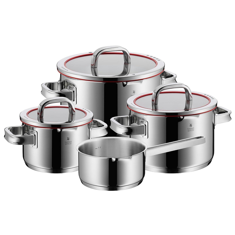 WMF 07.6034.6380 Function 4-Batería de Cocina, 4 Piezas, 3 ollas Altas (1,9 litros), Ø20cm (3,9 litros) y Ø24cm (5,7 litros) con Tapa y 1 cazo Ø16cm (1,4 ...