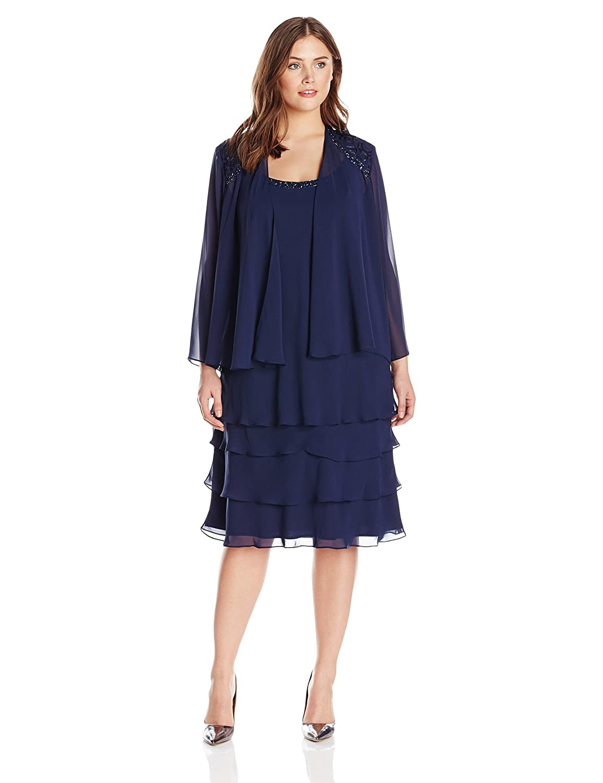S.L. Fashions Women's Plus-Size Re-Order Chiffon Rhinestone Jacket Dress S.L. Fashions Dresses 622372