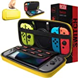 Orzly Carry Case Compatible with Nintendo Switch - NEON Yellow Protective Hard Portable Travel Carry Case Shell Pouch for Nin
