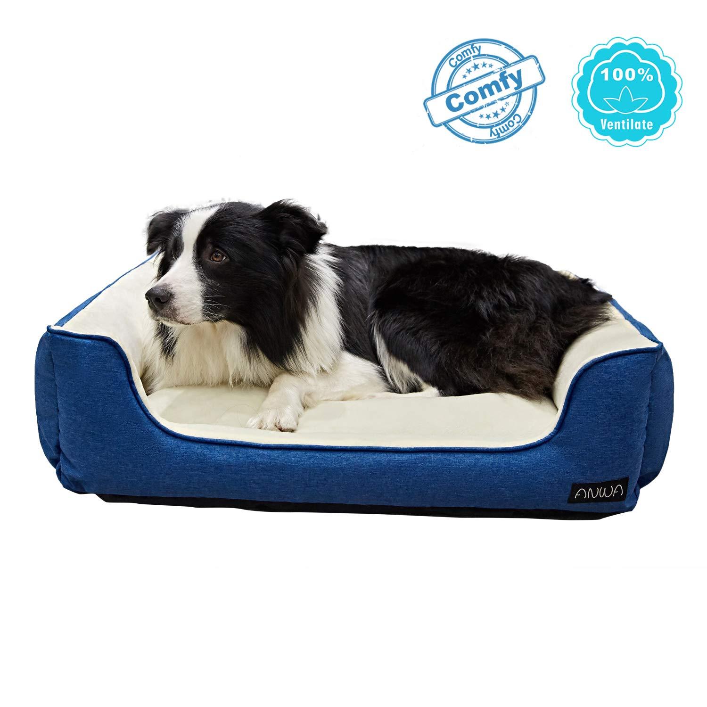 ANWA Durable Dog Bed Machine Washable Large Pet Dog Bed Medium Dog Bed Blue