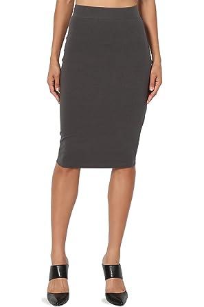 823af59065b9 TheMogan Women's Stretch Cotton Elastic High Waist Pencil Midi Skirt, Z62  Ash Grey, Small