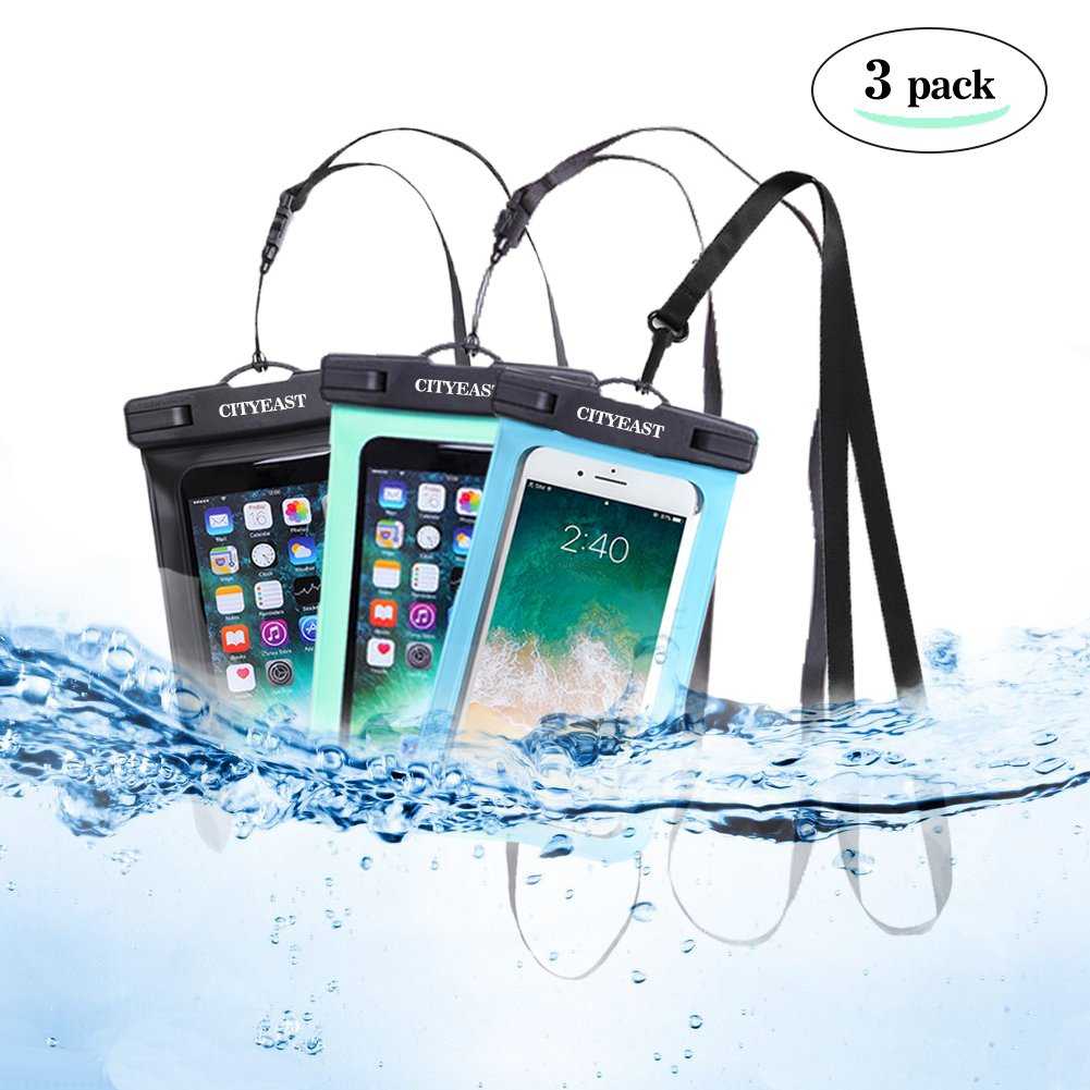 Universal Waterproof Phone Case of 3 Pack Set IPX8 Waterproof Smartphone Dry Bag for iPhone X, 8/7/7 Plus/6S/6/6S Plus, Samsung Galaxy S9/S9 Plus/S8/S8 Plus/Note 8 6 5 4 (Blue,green,black 3-Pack)