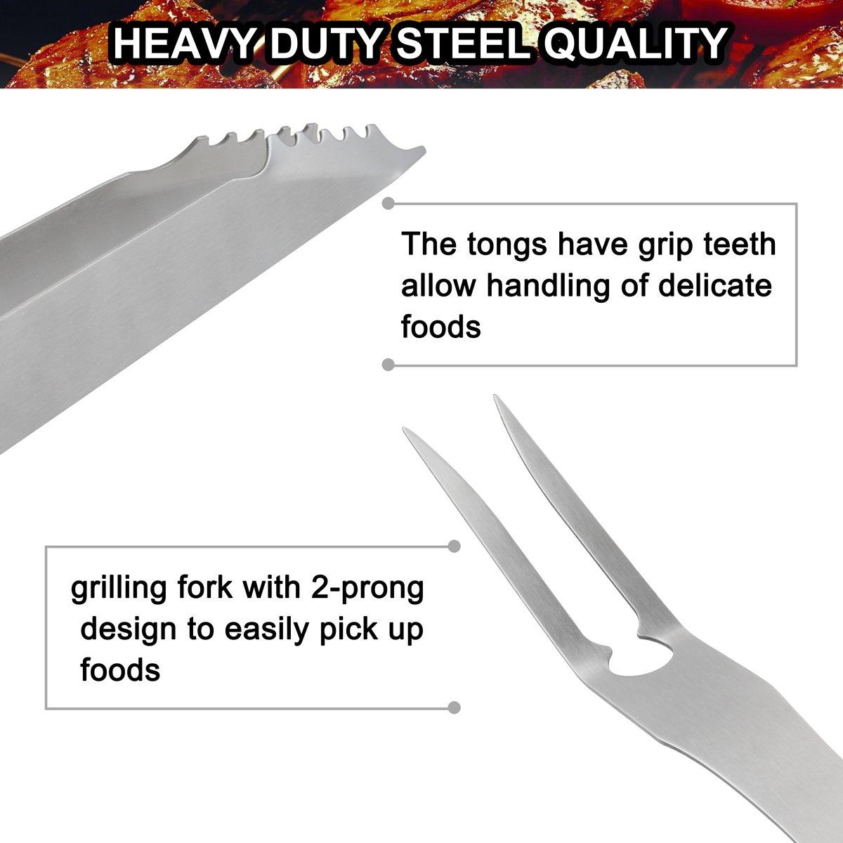 grilljoy 7PCS BBQ Grill Tools Set Accesorios de Acero Inoxidable Resistentes con Delantal Bolsa de Almacenamiento Regalo de cumplea/ños para Hombre Completo Kit de Parrilla Exterior para pap/á
