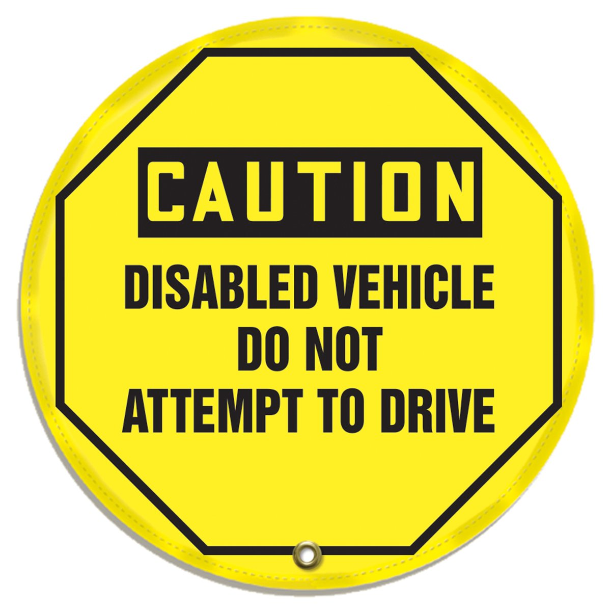 OSHA-Style LegendCaution Disabled Vehicle DO NOT Attempt to Drive 20 Diameter Accuform KDD823 STOPOUT Vinyl Steering Wheel Message Cover Black on Yellow