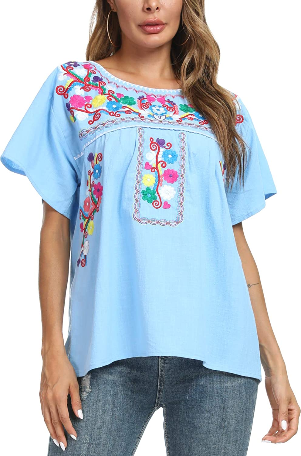 YZXDORWJ Womens Summer Casual Embroidered Blouse Short Sleeve Tops