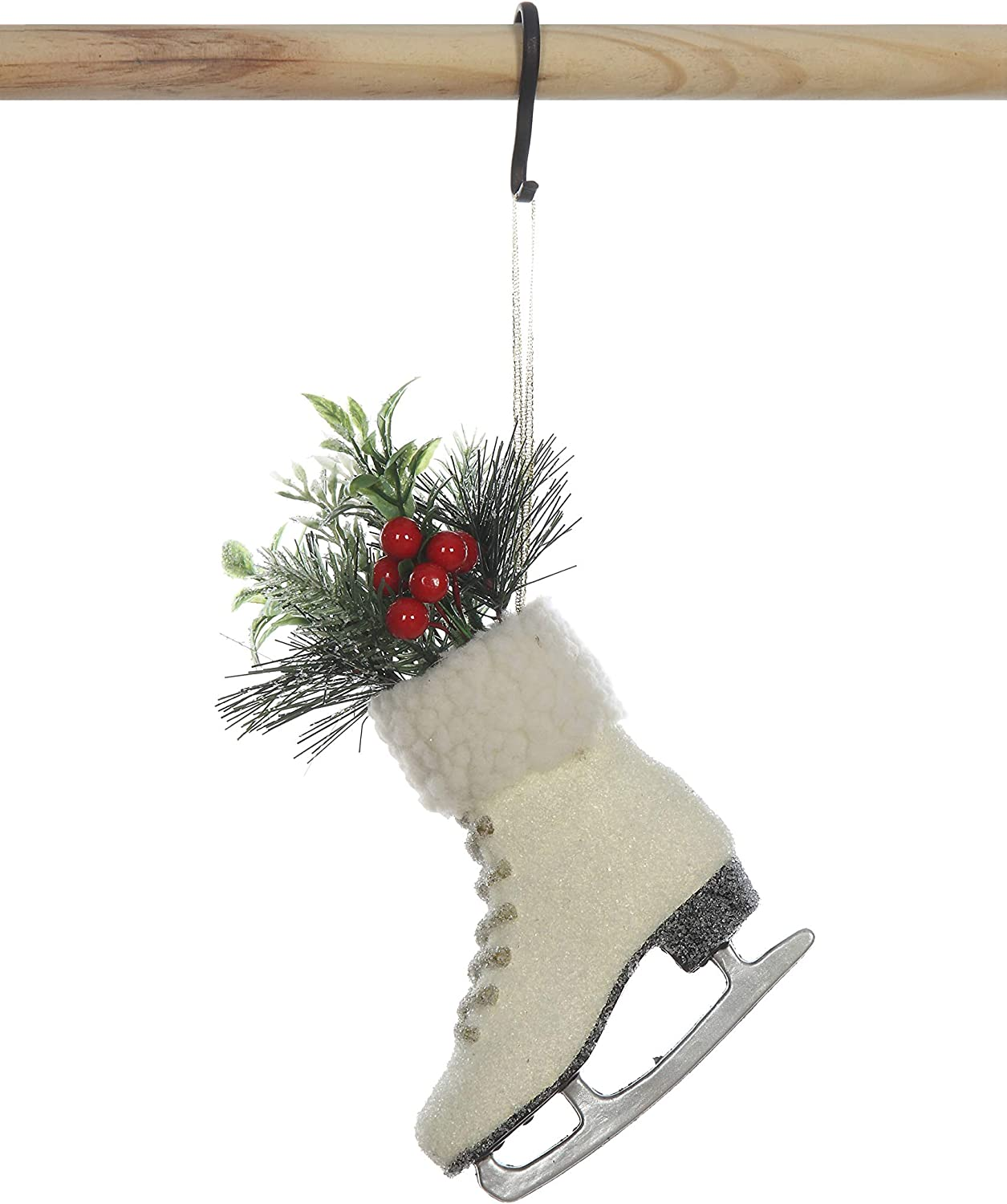 Creative Co-op Paper Pulp Ice Skate Ornament, White