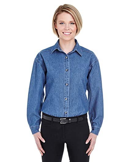 e8d6b045783 UltraClub 8966 Ladies  Solid Long-Sleeve Cypress Denim Dress Shirt ...