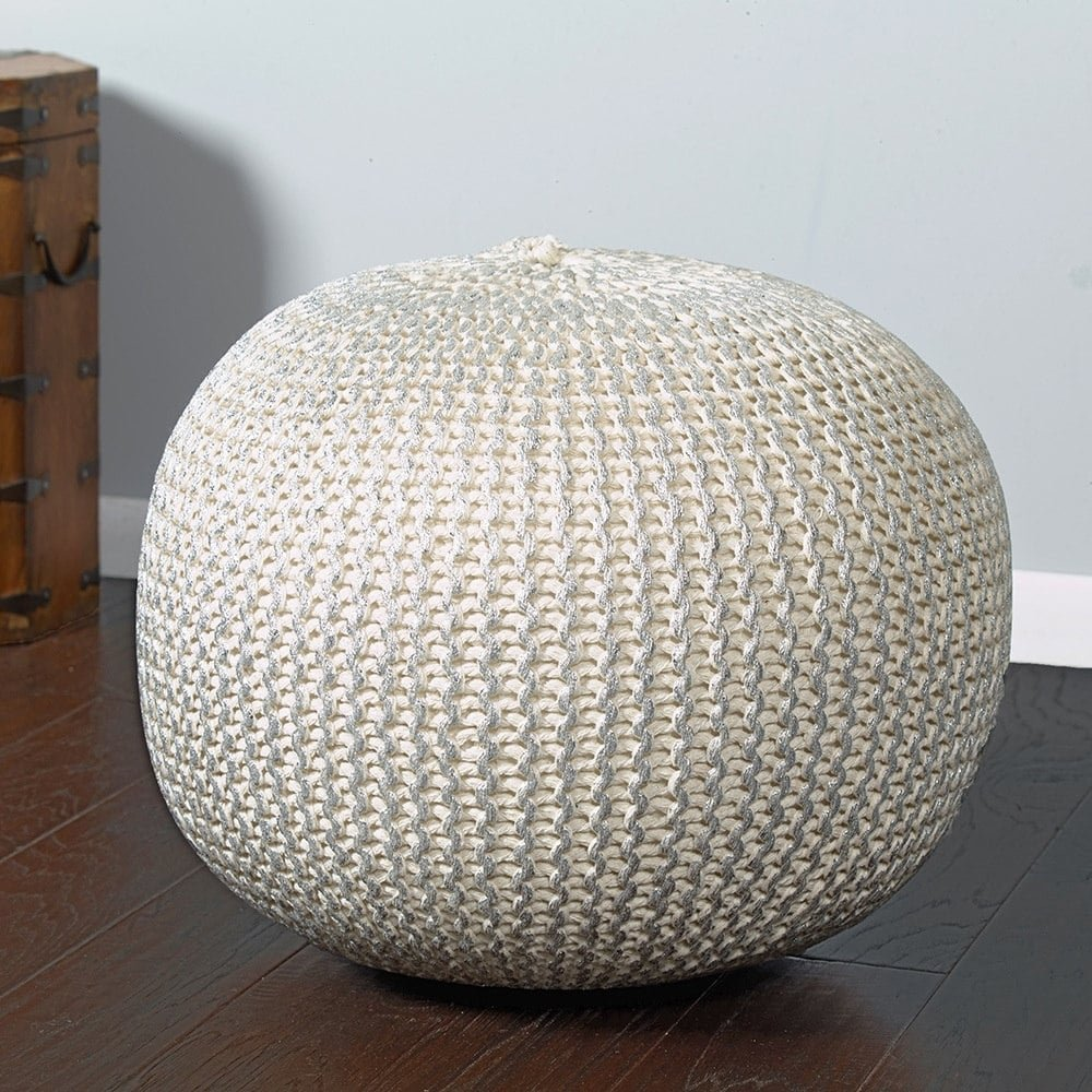 L.R. Resources POUFS08125BNS1814 Fairbanks Bone Silver Knitted Pouf Ottoman, 1'4