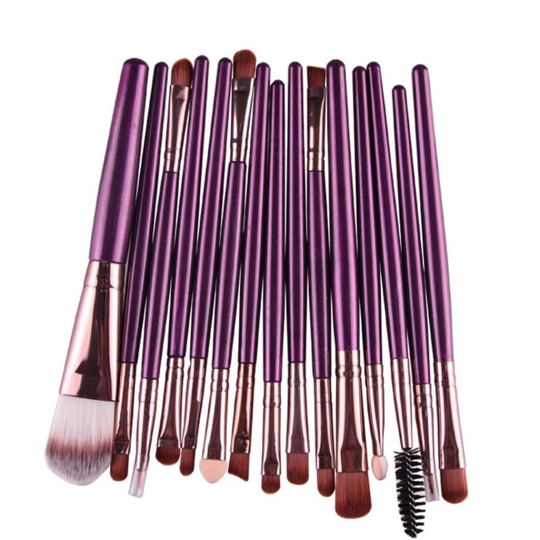 Susenstone 15 pcs/Sets Eye Shadow Foundation Eyebrow Lip Brush Makeup Brushes Tool (Purple) Changeshopping