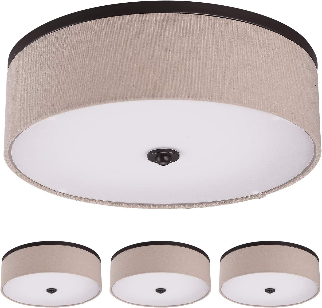Amazon Com Ostwin 4 Pack 15 Inch Led Flush Mount Ceiling Light Dimmable Drum Light Fixture Natural Linen Fabric Shade With Oil Rubbed Bronze 23w 120w Eq 1650 Lm 3000k Warm White Etl