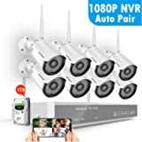 Full HD 1080P Security Camera System Wireless with 1TB Hard Drive,SAFEVANT 8 Channel Home Security Systems 8PCS 2MP Outdoor Indoor Surveillance Cameras with Night Vision Motion Detection