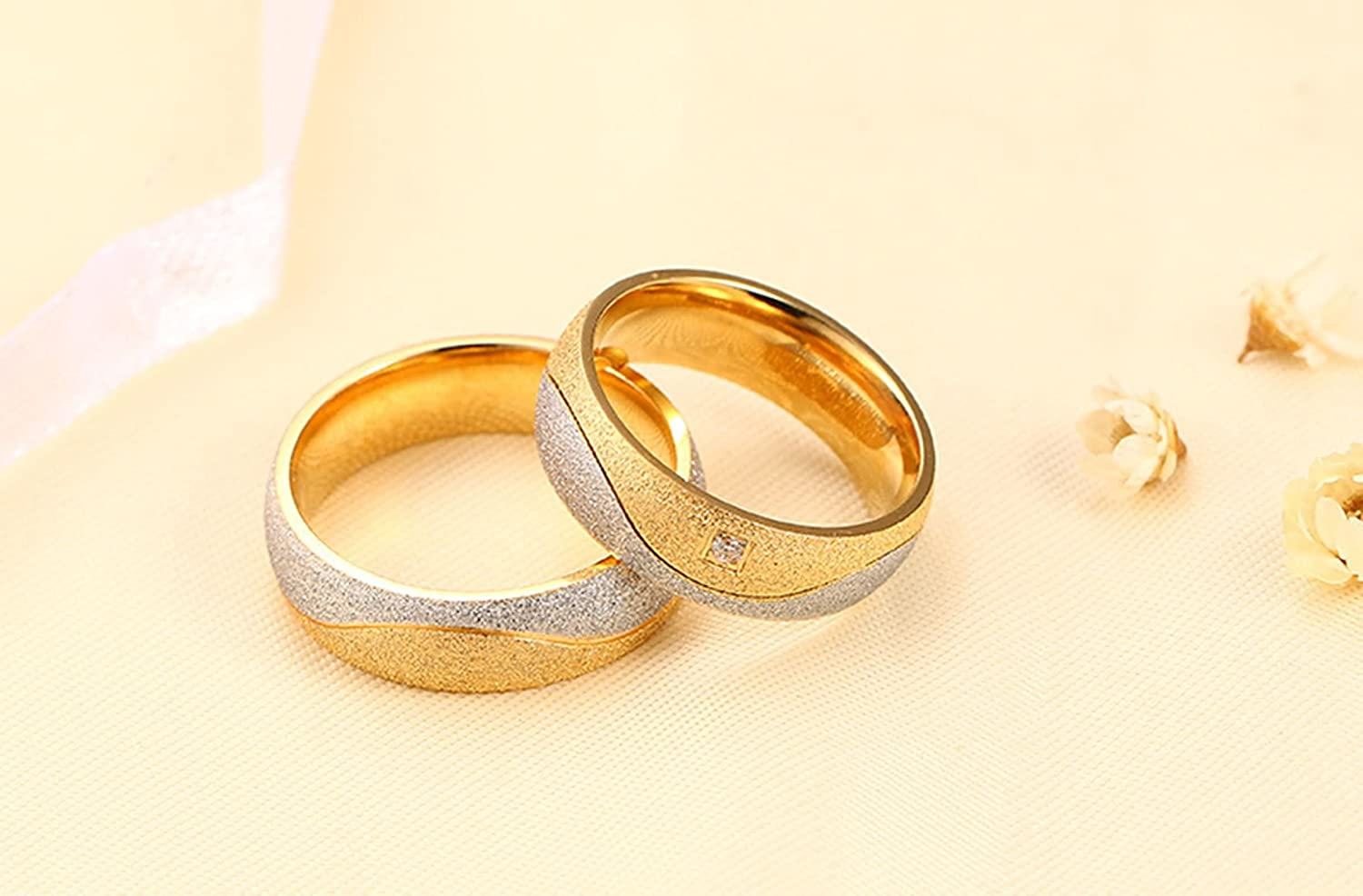 ANAZOZ Engagement Rings Stainless Steel Two Tone Cubic Zirconia Silver Gold Sand Wedding Engagement Rings