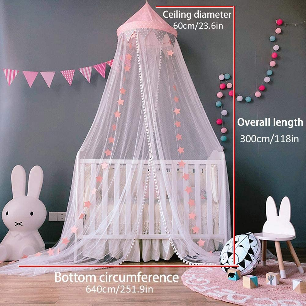 Baby Room Mosquito Net with Eco-Friendly Cotton and Polyester Fabric Length 118 Inch Blue Nursery Room Canopy