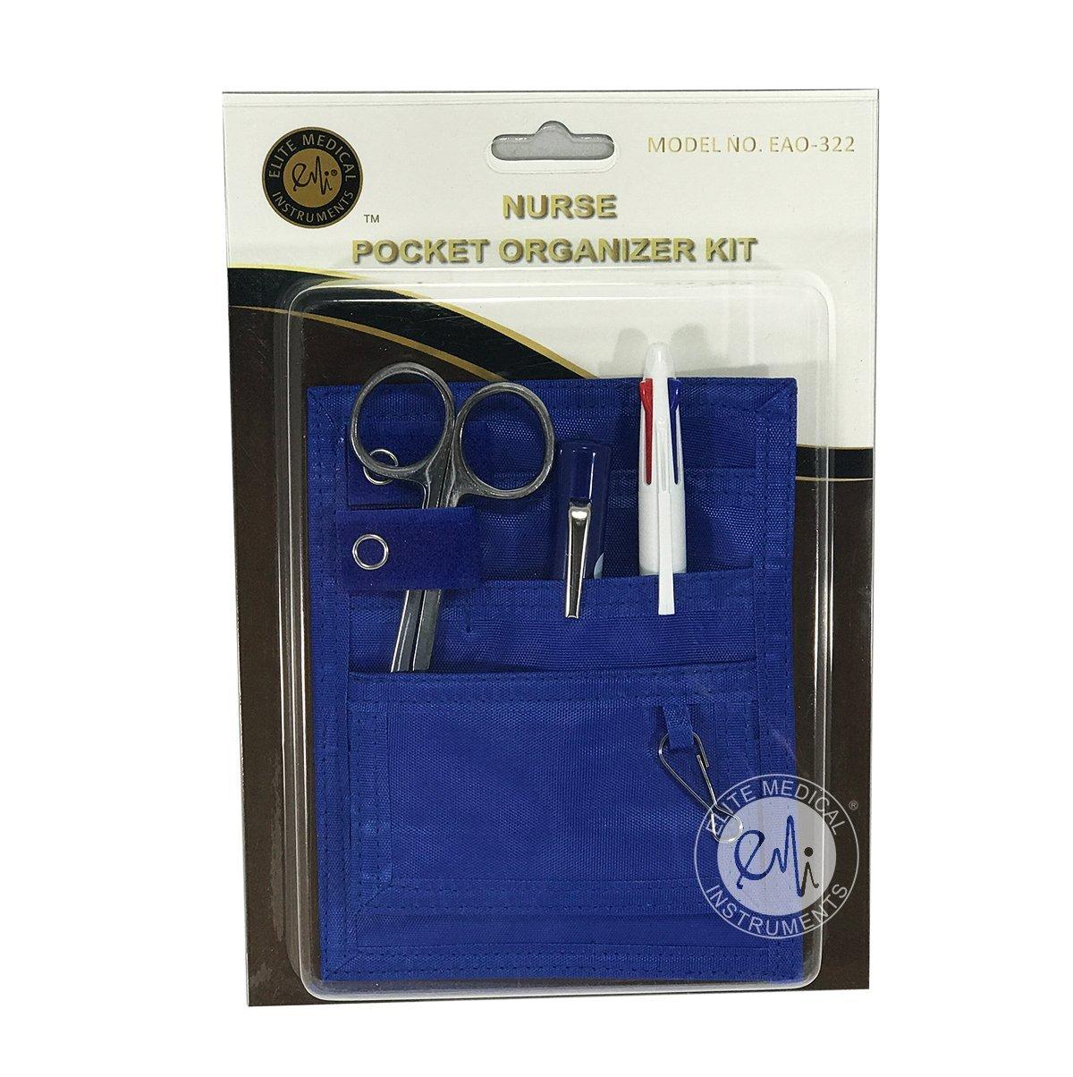 EMI Nurse Pocket BLUE Organizer 4 Piece Kit - Pocket organizer, Lister bandage scissor, Pupil gauge penlight, and chart pen