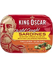 King Oscar Wild Caught Sardines in Extra Virgin Olive Oil, Hot Jalapeno Peppers, 3.75 Ounce (Pack of 12)