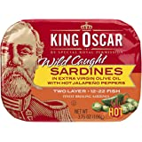 King Oscar Sardines in Extra Virgin Olive Oil, Hot Jalapeno Peppers, 3.8 Pound (Pack of 12)