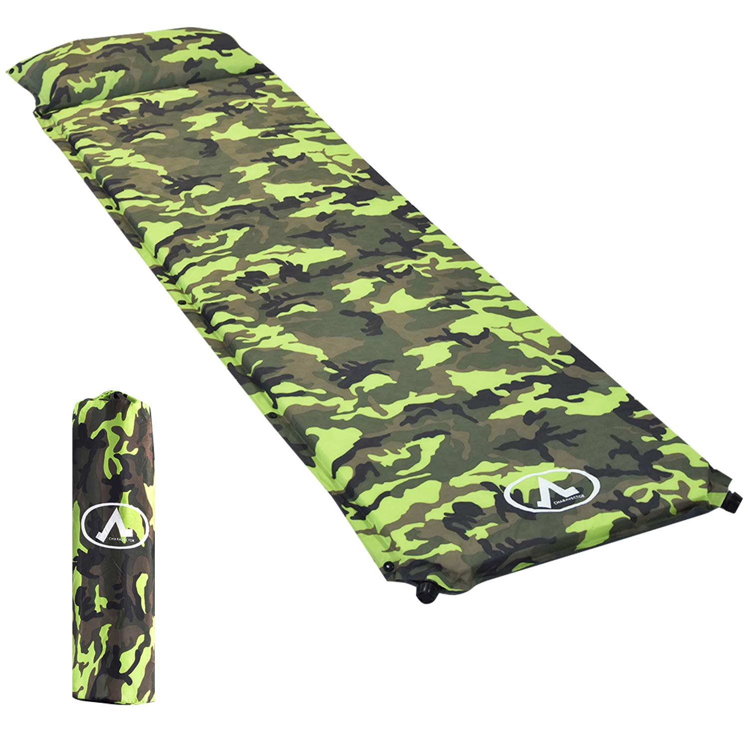 NSdirect 2'' Camping Self Inflating Sleeping Pad with Pillow, Moisture-Free, Lightweight Foam Mat, Perfect for Backpacking, Hiking and Camping, Compact by NSdirect
