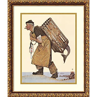 Framed Art Print 'Fishing' by Norman Rockwell