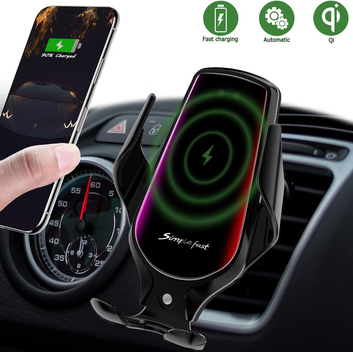 LUKKAHH R3 Wireless Car Charger Mount,Auto-Clamping Air Vent Phone Holder,10W Qi Fast Car Charging,Compatible iPhone 11/11 Pro/11 Pro Max/XS/XS Max/X/8/8+, Samsung Note9/Note10/S9+/S10+(Deep Black)