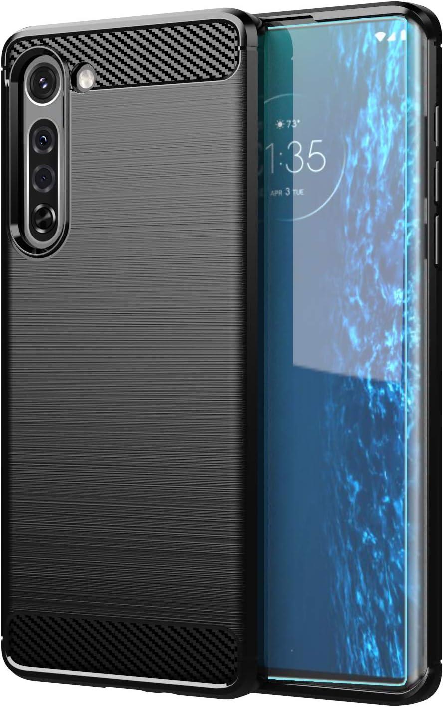 Funda negra y protector para Motorola Edge