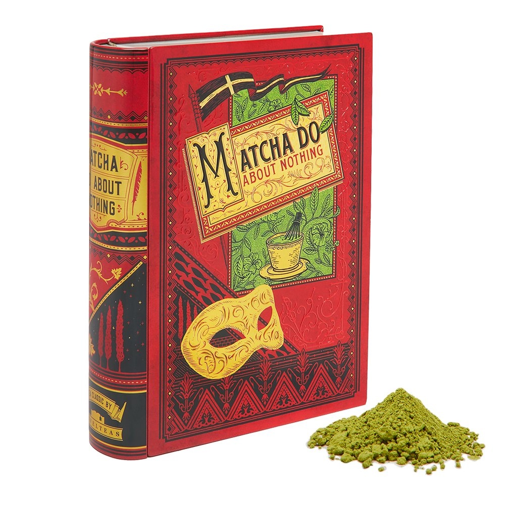 NovelTea Tins | Matcha Do About Nothing | Shakespeare Gifts For Book Lovers | Organic Matcha Powder | Matcha Tea Set In Decorative Tea Tin | Unique Birthday Gift | 2 oz