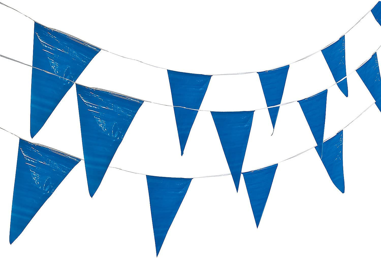 Fun Express Blue Pennant Banner (100 ft Long) Birthday, Event and Party Hanging Decor