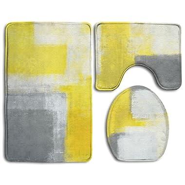 HanSmallT Grey And Yellow Abstract Art Painting White Non Slip 3 Piece Bath Mat Pedestal Rug + Lid Toilet Cover + Bath Mat Customized Artwork Print