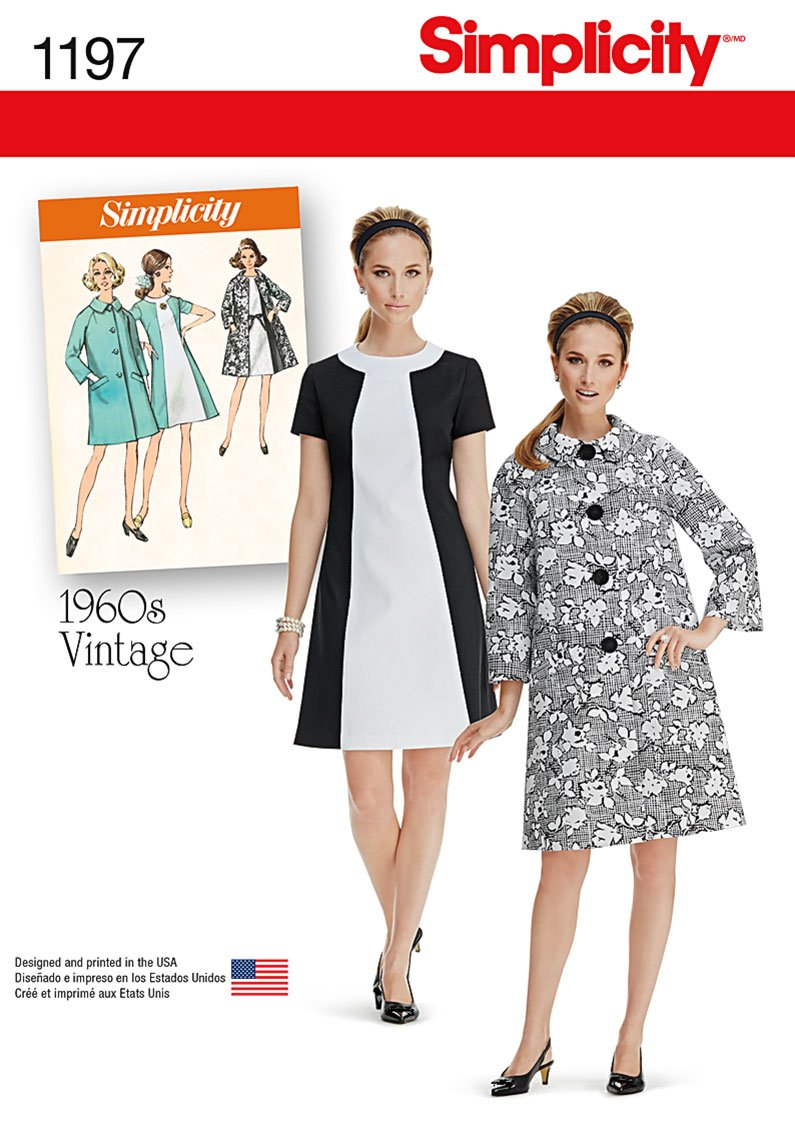 Simplicity 1960's Vintage Pattern 1197 Misses Dress and Lined Coat Sizes 6-8-10-12-14 by Simplicity Creative Patterns   B00PL8VQV8