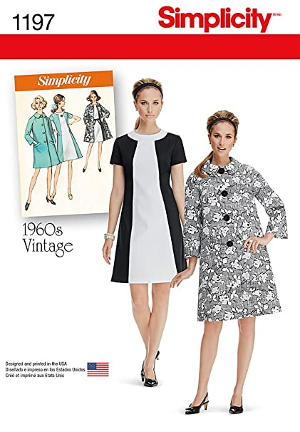 93798c127d Simplicity 1197 1960's Fashion Women's Vintage Dress and Coat Sewing  Pattern, ...