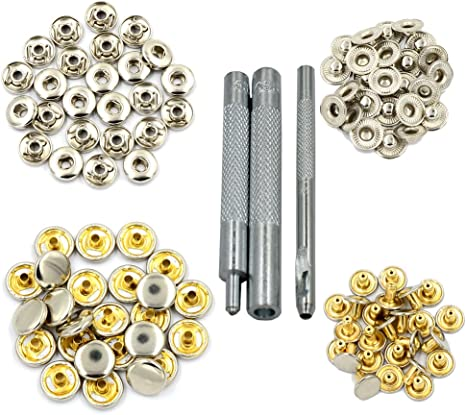 DGOL 25 Sets Leather Copper Press Fasteners Studs Clothes Rivets 633 Snap Buttons With Install Tools Color Shinning Silver