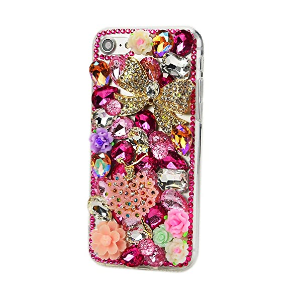 4ab8dde87ea STENES iPhone 8 Plus Case - 3D Handmade Luxury Series Crystal Bowknot  Flowers Dance Girl Flowers Sparkle Rhinestone Cover Bling Case for iPhone 7  ...