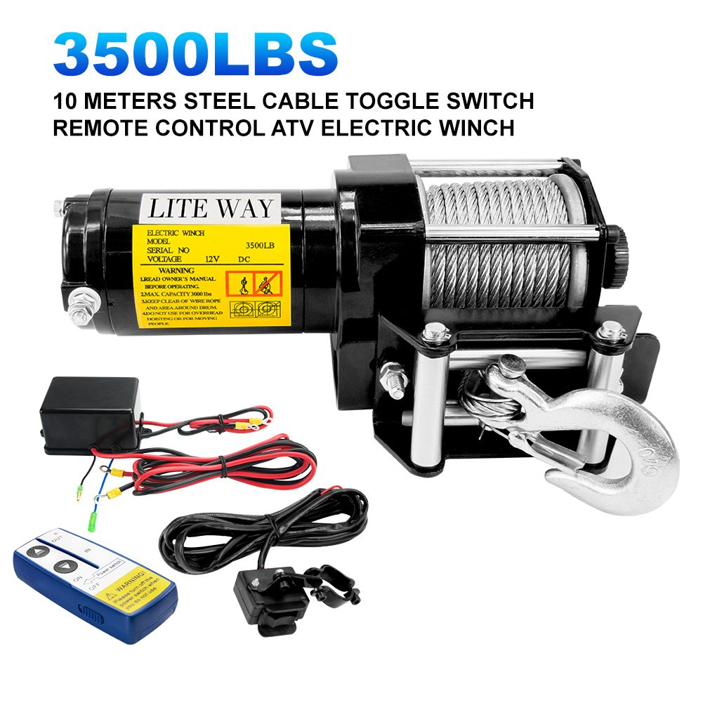 Liteway 12 VDC Winch 3500lbs/1591kg with Roller Fairlead Electric Steel Cable Winch Kit, Handheld Remote Waterproof Boat Jeep Truck Trailer Offroad, 2 Years Warranty