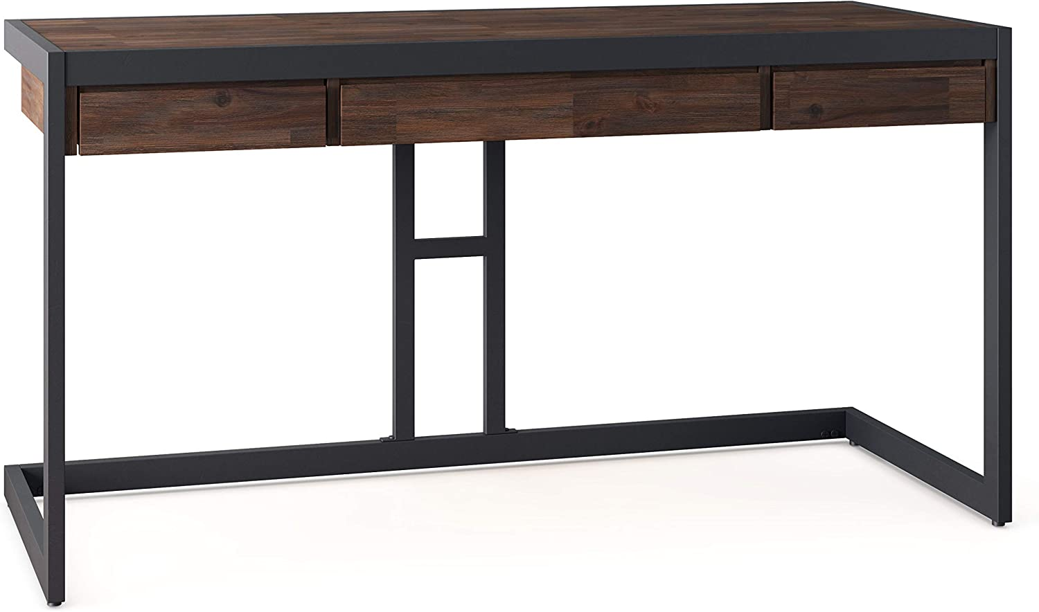 SIMPLIHOME Erina SOLID WOOD and Metal Modern Industrial 60 inch Wide Home Office Desk, Writing Table, Workstation, Study Table Furniture in Distressed Charcoal Brown with 2 Drawerss