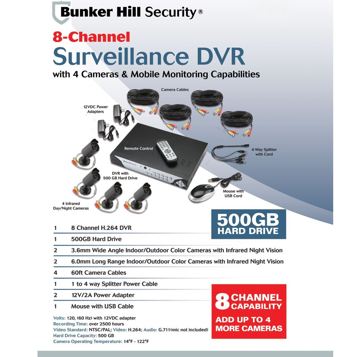 Amazon.com : 8 Channel Surveillance DVR with 4 Cameras and Mobile ...