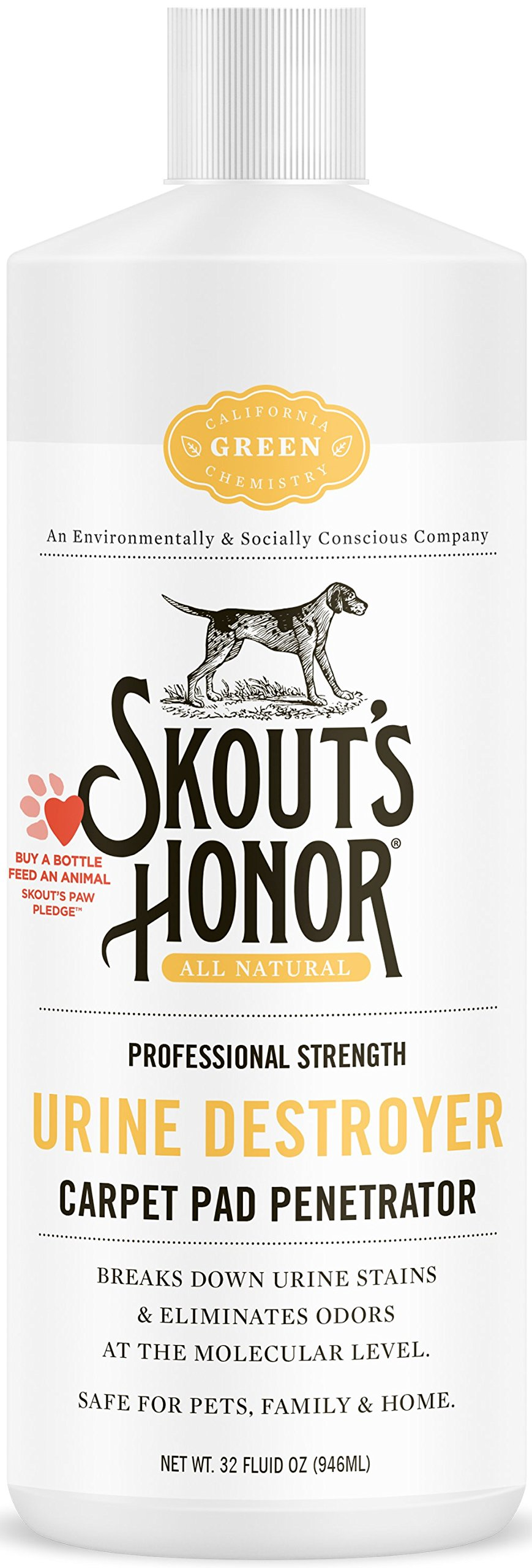 SKOUT'S HONOR Pet Stain Remover Professional Strength Urine Destroyer Carpet Pad Penetrator - Non-Toxic, Biodegradable, and Environmentally Safe - Odor Eliminating Technology - 32oz Bottle