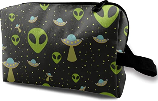 UFO Alien Unisex Canvas Coin Purse Wallet Coin Purse Canvas Zipper Wallet