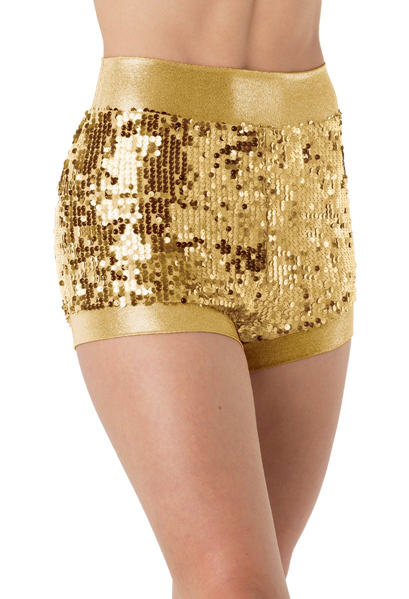 Balera Dance Shorts Ultra Sparkle With Metallic Trim Gold Adult Large by Balera
